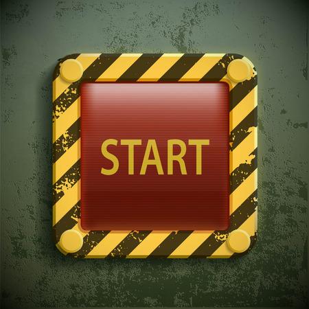 単語スタート スイッチ ボタンです。株式ベクトル現実的なイラスト。