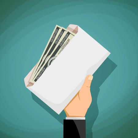 remuneraciones: El hombre sostiene en la mano un sobre con dinero. Soborno y corrupción. Ilustración vectorial material.