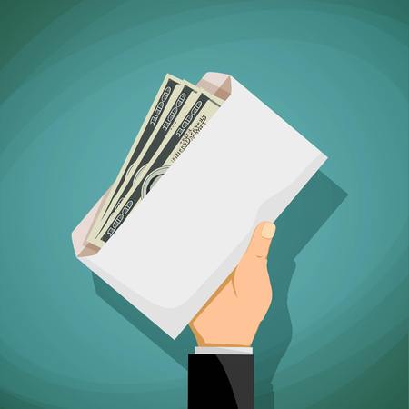 bribery: Man holds in his hand an envelope with money. Bribery and corruption. Stock vector illustration.