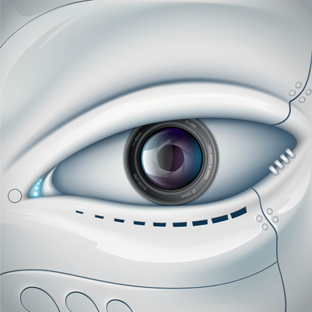 futuristic eye: Robot face with the camera lens in the eye. Stock vector futuristic illustration.