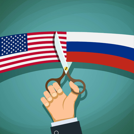 cold war: USA and Russian flags are cut with scissors. Confrontation and the Cold War. Stock vector illustration.