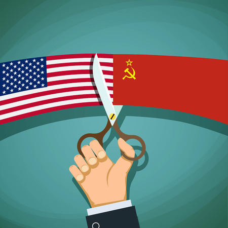 cold war: Human hand with scissors cuts the USA flag and the USSR. Cold War. Stock vector illustration.