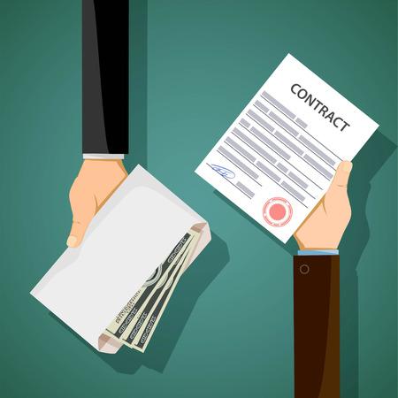 Dwaj mężczyźni trzymają się w ręku za kontrakt i łapówkę. Korupcja w biznesie. Ilustracja wektora.