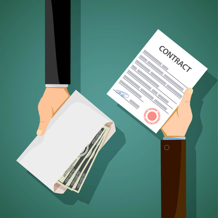 Two men hold in their hands contract and bribe. Corruption in business. Stock vector illustration.