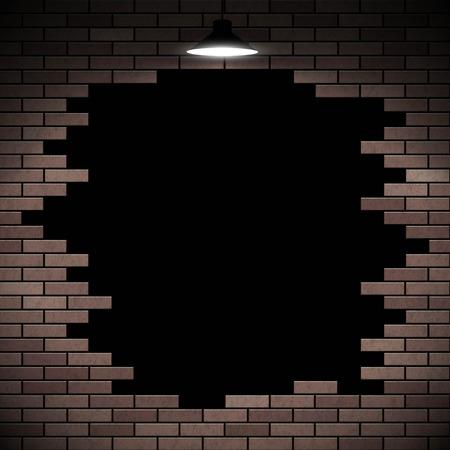 old ruin: Black hole in the brick wall. Stock vector illustration. Illustration