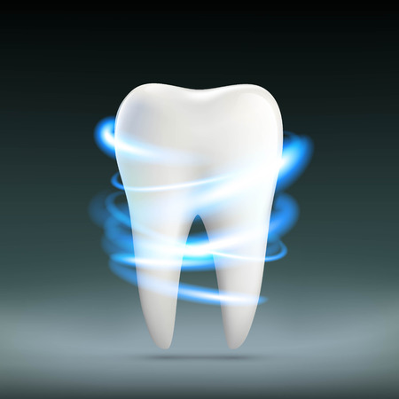 dentures: Human white tooth. Dentures in stomatology. Stock vector illustration.