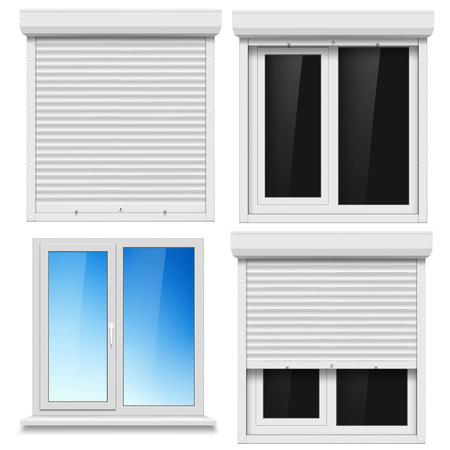 Ensemble de fenêtres en PVC et rouleau métallique aveugle isolé sur fond blanc. Stock illustration vectorielle.