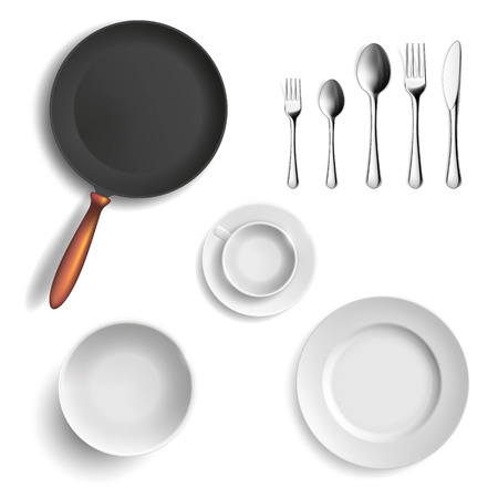 Set of ceramic plates and utensils. Isolated on white background. Stock vector illustration.
