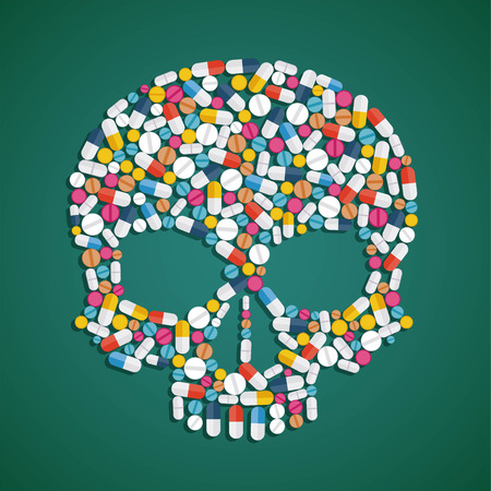 detriment: Skull is composed of pills and tablets. Stock vector flat graphics illustration.