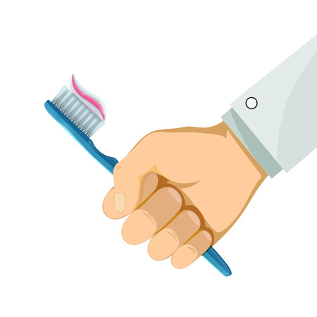 Man holding a toothbrush in his hand. Hygiene and caries prevention. Isolated on white background. Stock vector illustration.