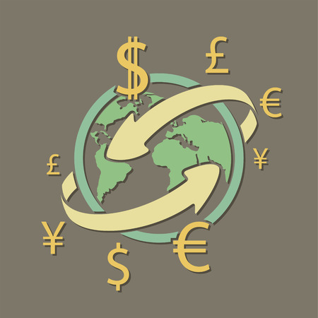 International currency money transfers. Stock vector illustration.