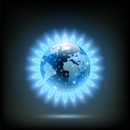 Round blue flame of butane with Planet Earth inside. Gas production in the world. Stock vector illustration. Illustration