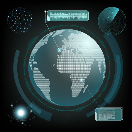 HUD interface with planet earth and radar. Computer network and espionage. Stock vector illustration.