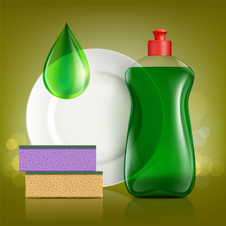 Botella de plástico con jabón para lavar utensilios, placa y esponja. Ilustración de stock vector.