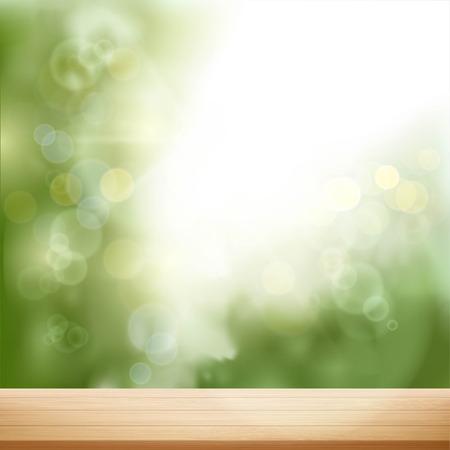 Mesa de madera sobre fondo natural borrosa. Ilustración vectorial.