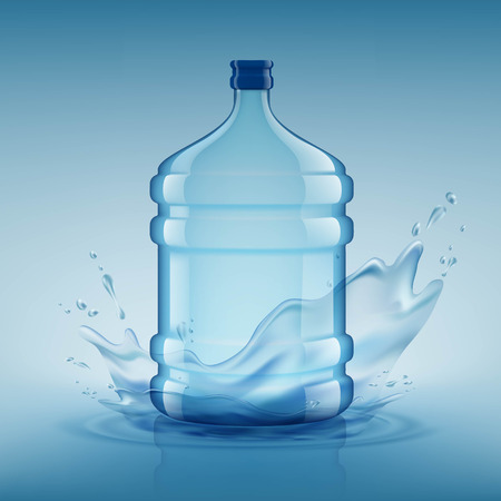 Big bottle with clean water. Plastic container for the cooler. Stock vector illustration.