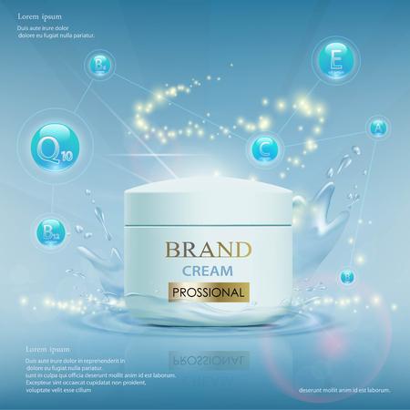 Crema con vitamine, siero e coenzima Q10. Modello di annunci cosmetici. Illustrazione vettoriale di riserva.