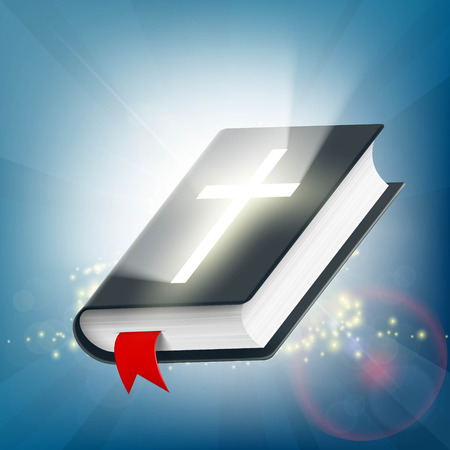 Holy Bible on the background of light rays. Symbol of religion. Stock vector illustration.