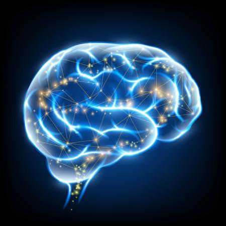 신경 세포와 인간의 두뇌 빛나는. 주식 벡터 일러스트 레이 션.