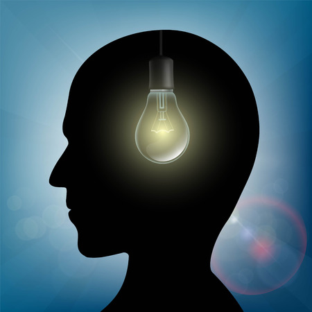psychics: Silhouette of human head with light bulb inside. Stock vector illustration.