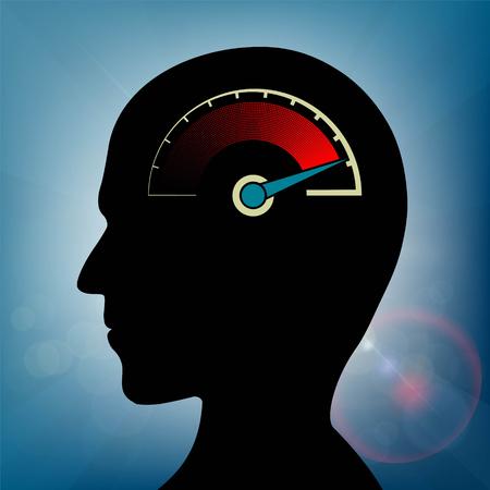 Velocímetro con una flecha en la cabeza humana. la tensión nerviosa y la fatiga. Ilustración vectorial material.