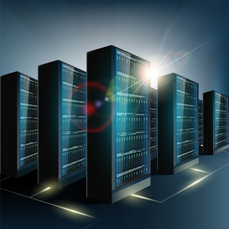 network server: Server room in the datacenter. Network and internet technology. Stock vector illustration. Illustration