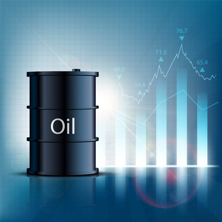 oilwell: Barrel of oil with financial graphs and charts. Stock vector illustration. Illustration