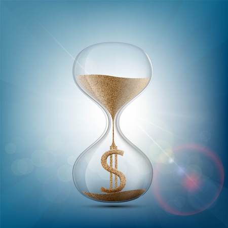Hourglass with a dollar sign made of sand. Stock vector illustration.