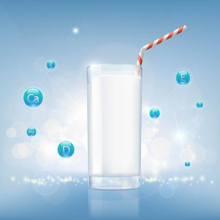nutrientes: Vaso de leche sobre un fondo de vitaminas y nutrientes. Ilustración común del vector. Vectores