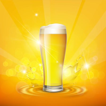 Foam on the glass with beer. Stock vector illustration. Illustration
