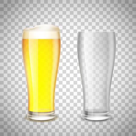 Set di vetro, vuoto e con birra su uno sfondo trasparente. Illustrazione vettoriale di riserva.