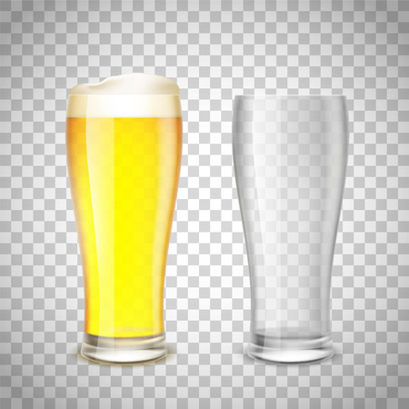vaso vacio: Set of glass, empty and with beer on a transparent background. Stock vector illustration. Vectores