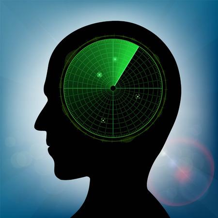 blip: Human head with green military radar inside. Stock vector illustration.