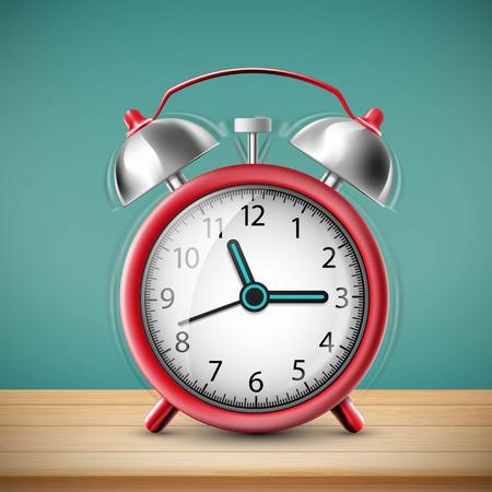 Ringing alarm clock on vintage background. Stock vector illustration.