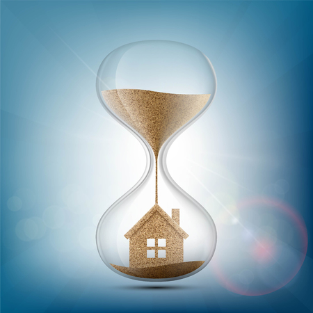 subprime: Hourglass with the house inside. Stock vector illustration.