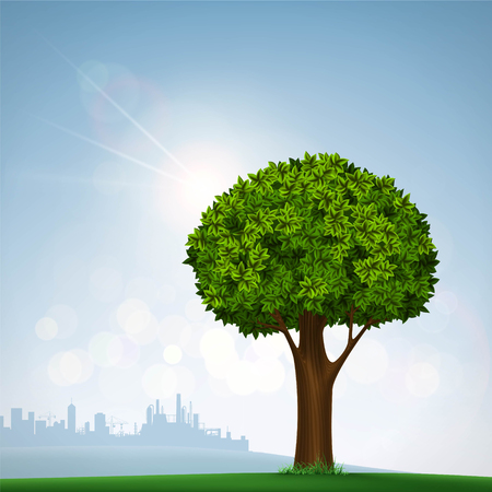 urban landscapes: Green tree with leaves. Nature on the background of the urban landscape. Stock vector illustration.