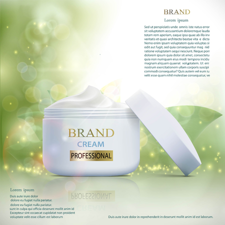 Plastic container with cosmetic cream on a natural pattern. Skin Care ads template. Stock vector illustration.