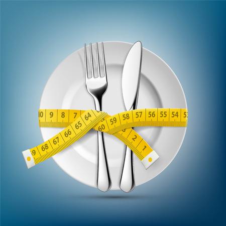 Plaque avec couteau, fourchette et centimètre de couture. Suivre un régime et perdre du poids. Illustration vectorielle stock