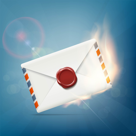 urgently: Envelope with wax seal on fire. Stock vector illustration.