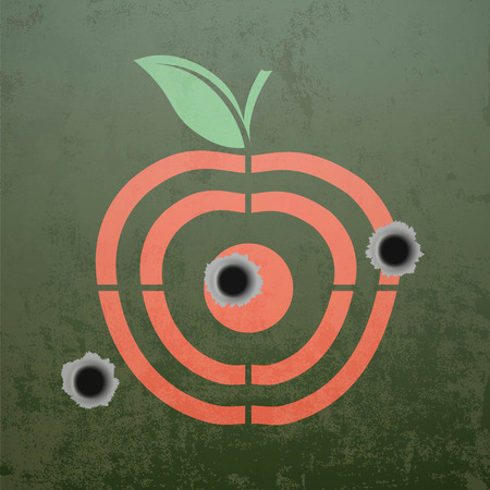 Military target in the form of fruit apple. Metal background with bullet holes. Stock vector illustration. Illustration