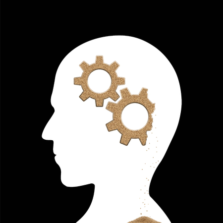 Human head with sand gears inside. Alzheimers disease. Stock vector illustration.