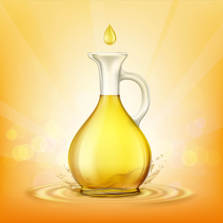 Glass jug with yellow oil and a spray of droplets. Stock vector illustration. Illustration