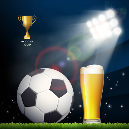 Soccer ball and a glass of beer in the stadium. Stock vector illustration. Illustration