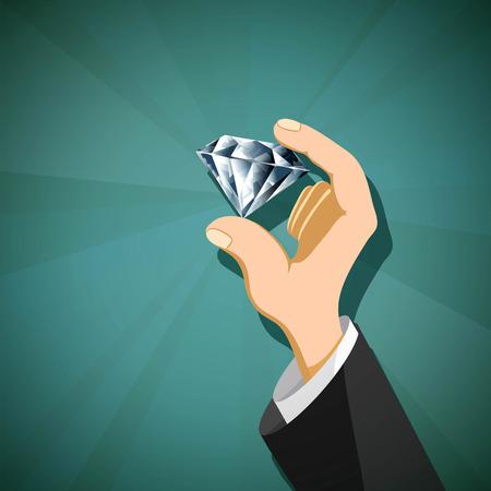 인간의 손에 보석 다이아몬드입니다. 주식 벡터 일러스트 레이 션. 일러스트