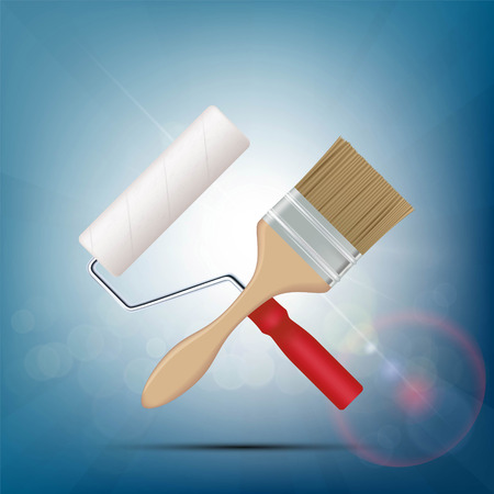 renovating: Paint brush and roller. Construction and repair. Stock vector illustration.
