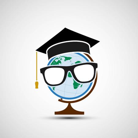 El planeta tierra en un sombrero del graduado. Educación a distancia. Ilustración de stock vector. Ilustración de vector