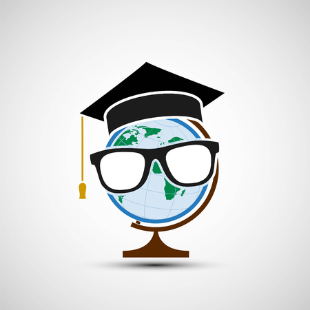alumnus: Planet earth in a hat of the graduate. Distance education. Stock vector illustration.