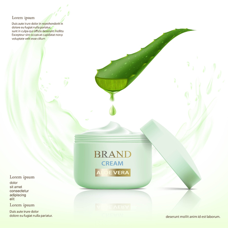 Container with cosmetic cream. Aloe vera leaf. Stock vector illustration.