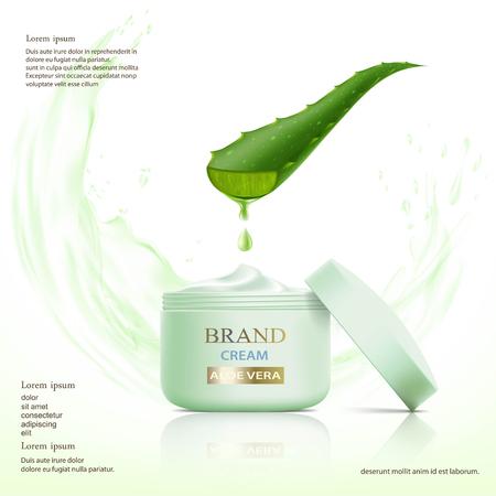 Container met cosmetische crème. Aloë vera bladeren. Stock vector illustratie. Stockfoto - 74496627