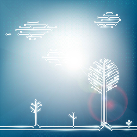 natural energy: Ecological natural energy from solar panels. Technology Stock vector illustration.